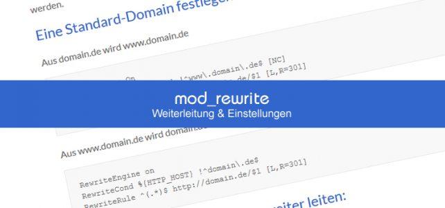 mod_rewrite Weiterleitung & Einstellungen