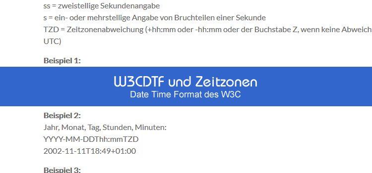 W3CDTF und Zeitzonen