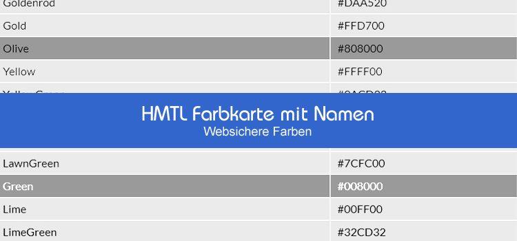 HMTL Farbkarte mit Namen