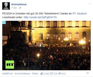 Pro PEGIDA Posting der Fake Anonymous-Kollektiv Seite.