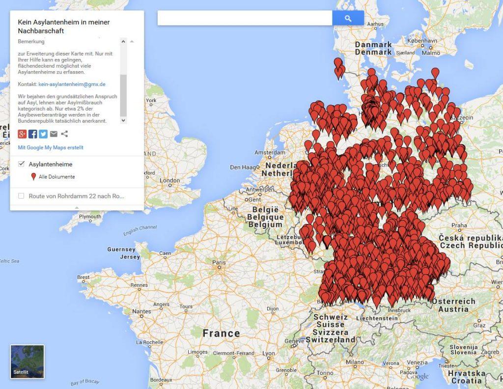 Deutschlandkarte Asylantenheime